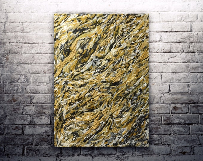 """ORIGINAL Painting - """"Current"""" - abstract acrylic painting - texture - experimental - inventive techniques"""