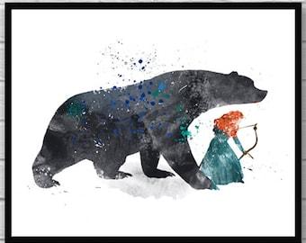 Brave Art Print, Princess Merida Disney Art, Brave and Bear, Kids Decor, Watercolor Art, Wall Art, Home Decor, Room Decor - 205