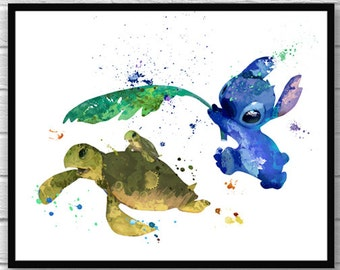 Stitch Art, Lilo & Stitch Watercolor Poster, Disney Art, Movie Poster, Wall Art, Turtle, Ohana Poster, Home Decor, Kids Room Decor - 601