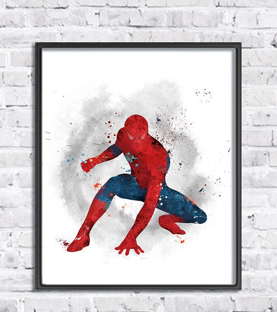 Spiderman Watercolor Art Print Superhero Movie Poster Avengers Comic Marvel Spider Man Spider Man Wall Art Kids Room Decor