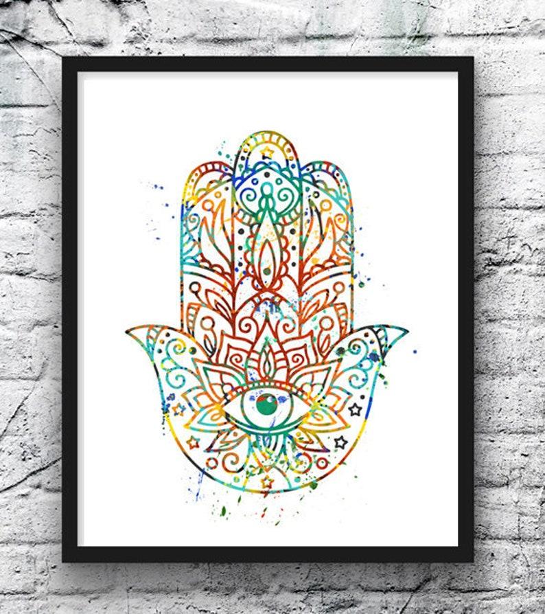 Yoga Watercolor Art Print Hamsa Yin Yang Lotus Flower Etsy