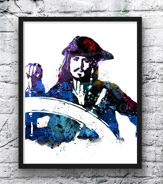 Aquarell von Captain Jack Sparrow Fluch der Karibik Poster | Etsy