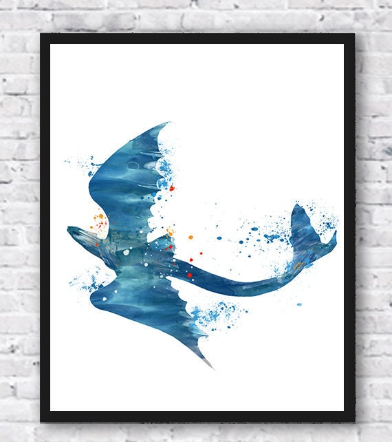 Toothless How to Train Your Dragon Wall Art Disney Watercolor Poster UNFRAMED