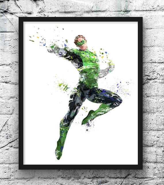 Green Lantern Watercolor Print Movie Poster Ring Justice Etsy