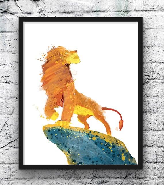 The Lion King Watercolor Print Simba Art Lion Jungle Movie Poster Wall Art Nursery Decor Kids Room Decor Home Decor 23