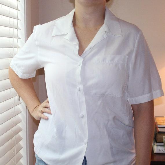 Vintage Lightweight Blue and White Button Front Blouse  Three-Quarter length sleeve  Vintage Blouse  Vintage Shirt Women  1990s