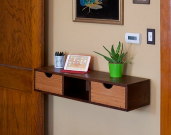 Walnut And Bamboo Wall Mounted Shelf With Drawers