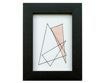 Hand Sewn Geometric Art, Pink Triangle, Black Frame