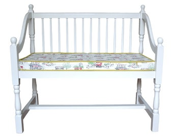 Bench Chair Upcycled with Cath Kidston Billie Goes To Town Fabric