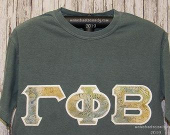 fcb28c23 Blue Spruce Short Sleeve Classic T-Shirt UNISEX Sizes with Cream Background  #262 Coordinating Batik Print Greek Double Stitch Letters