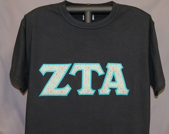 420619ba Black Short Sleeve or Long Sleeve Classic T-Shirt in UNISEX Sizes with Teal  Background, #135 Teal/Taupe/Gray Print Double Stitch Letters