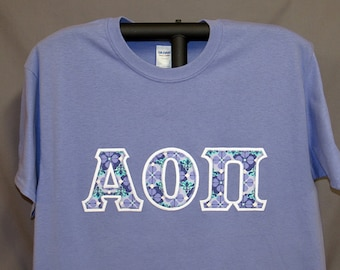 37a8aa98 Alpha Omicron Pi, Only ONE Available, Violet Short Sleeve T-Shirt UNISEX  Size LARGE, White Background with Violet/Teal Double Stitch Letters