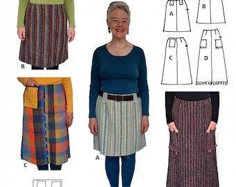 GW SK007 S-XXL skirt pattern for narrow, handwoven fabric. 4 lengths, lined, waist facing, darts, side zip, optional trims, by Sarah Howard
