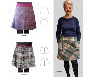 GW SK004 S-XL simple lined skirt cut sideways or on the bias, has yoke, optional pockets. 3 versions, variety of yarns, by Sarah Howard