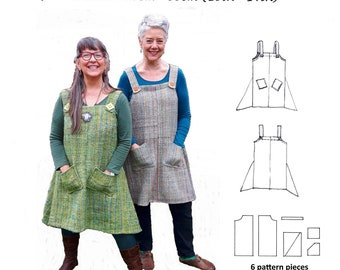 GW DR009 S-XXL Overhead, unlined pinafore dress with godets, shoulder straps with button decoration and patch pockets by Sarah Howard