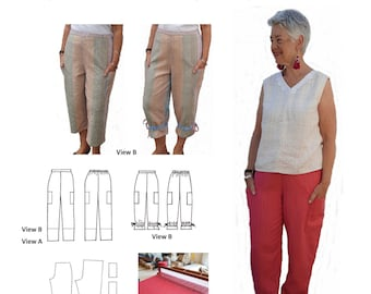 GW TR010 trousers, 2 lengths, flat front waistband, back casing with elastic, side seam pockets, optional leg drawstring, by Sarah Howard