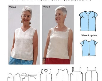 GW T007 S-XL top and camisole, armhole darts, back or side vents, taped neck and armholes, flange option, by Sarah Howard