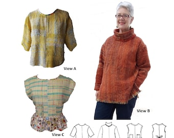 GW T008 S-XL simple overtop, sleeve and pocket options, taped neckline or cowl, side vents or contrast peplum and side ties by Sarah Howard