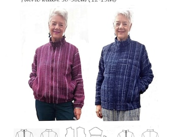 GW JA013 Loose fitting jacket, drop shoulder, separating zipper, collar, side seam pockets, elasticated or machined hems, by Sarah Howard