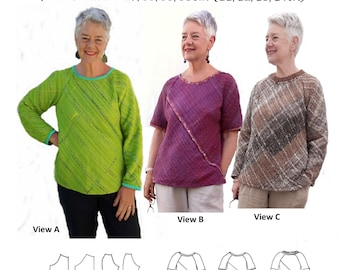 GW T011 Bias tops sewing pattern for narrow, handwoven fabric, long or short sleeve, side slits, knitted neckband option, by Sarah Howard