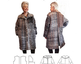 GW C002 Simple unlined coat, waist seam, patch pockets, back vent, 2 piece sleeves, knitted front bands, single layer collar, sewing pattern