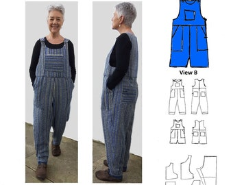 GW TR005 Loose fitting dungarees, ankle or knee length, patch pockets, side zipper, shoulder straps with clip + button.