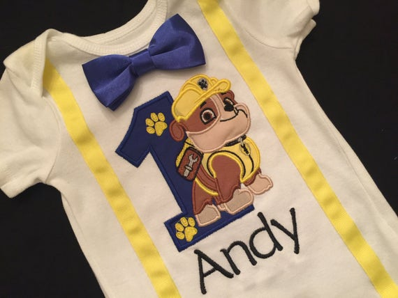 Personalized Rubble Paw Patrol Happy Birthday Age Embroidered