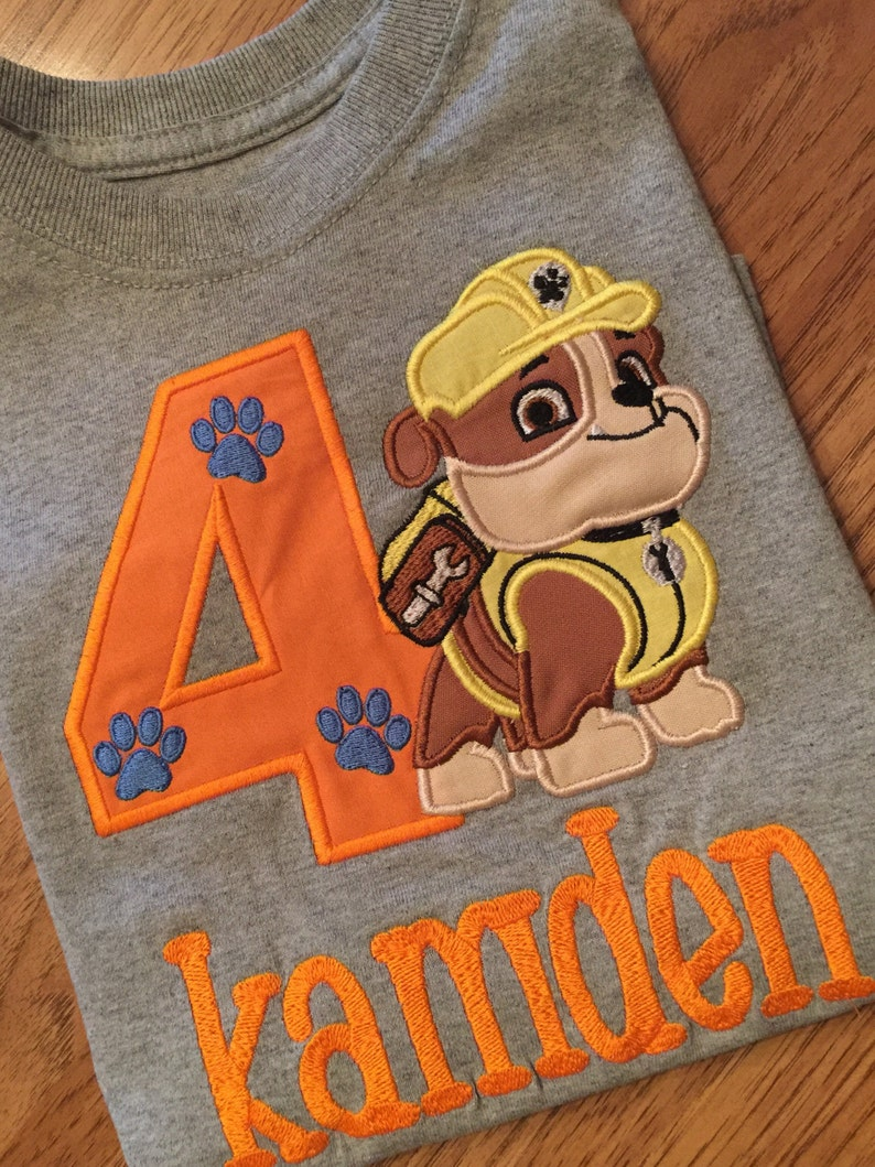 Personalized Rubble Paw Patrol Birthday Age Embroidered Name