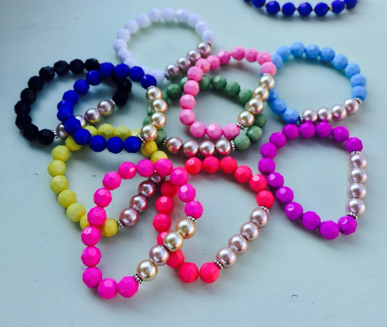 Childrens Bracelet Pearl Bead Bracelet Beaded Stretch Bracelet Kids Bracelet