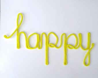 Wire Word Art, Yarn Wrapped Wire, Wire Word Wall Art, Wire Home Decor,  Happy Wire Sign, Custom Wire Word, Yellow Wall Decor, Happy Word Art