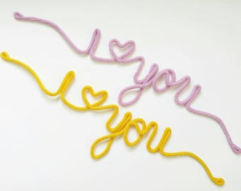 Wire Wall Decor, I Love You Sign, Wire Word Art, Mustard Yellow Decor, Wire Word Wall Art, Wire Sign, Nursery Wall Art,