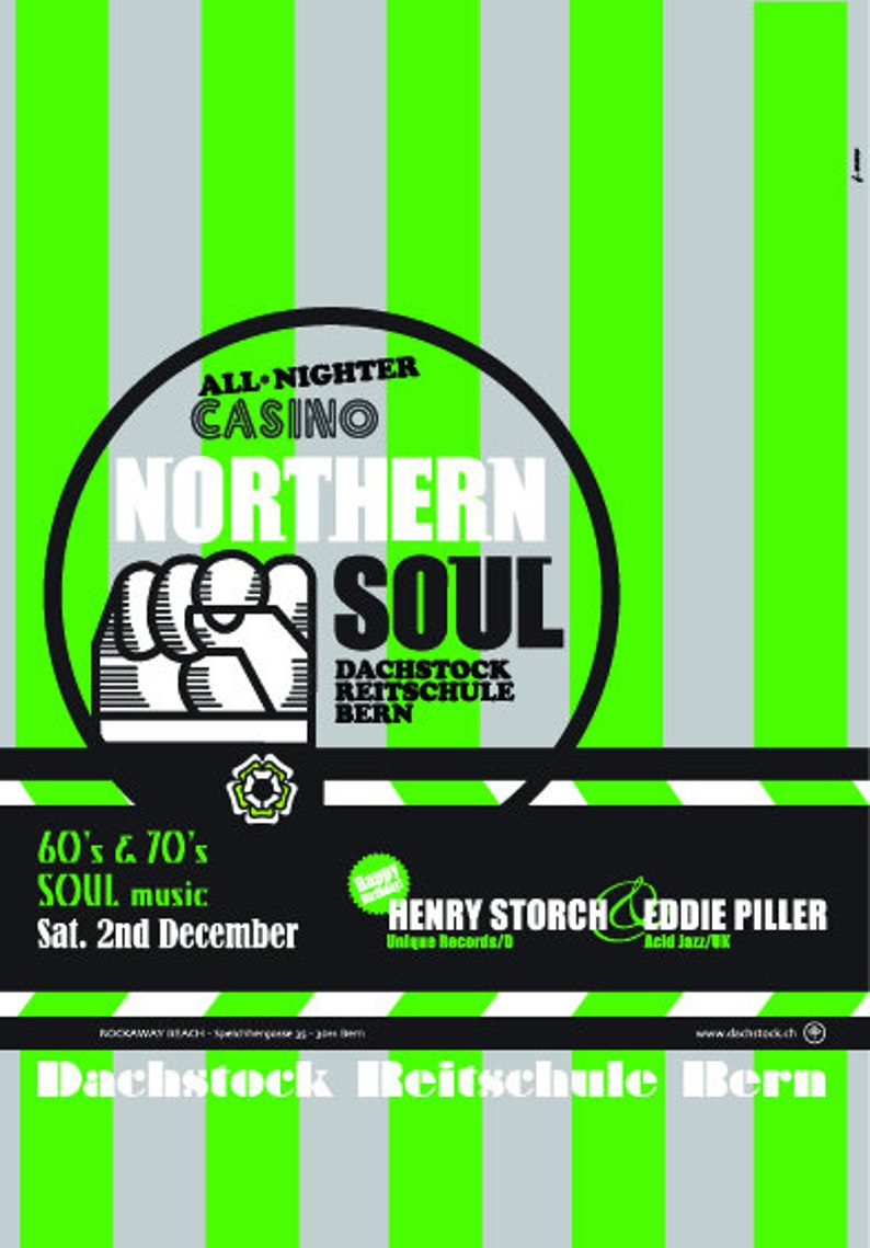 NORTHERN SOUL - All Nighter 60s,70s Soul Music - Dachstock Reitschule  Venue, Bern, Switzerland - High Quality Reproduction Poster