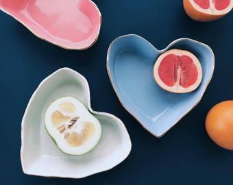 "Ceramic bowl ""Heart"" blue, Stoneware Bowls, Salad Bowls, Pottery Bowls, Valentine's day gift, dinnerware"