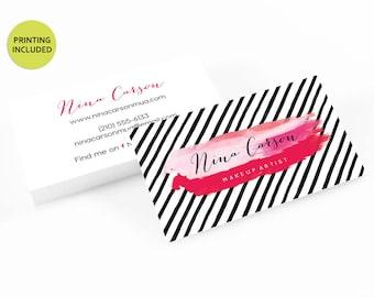 Makeup artist business cards etsy pink makeup modern printed business cards business cardsbusiness card designlipsense muacardsprintingmakeup artistlipsticklips colourmoves