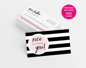 Mary kay business cards etsy mary kay pink striped 500 business cards printed business card template personalized card independent sales director beauty consultant flashek Gallery