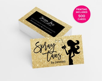 500 business cards etsy gold glitter spray tanning business card design 500 printed business cards template personalized tanning logo spray tan salon mobile sparkle colourmoves