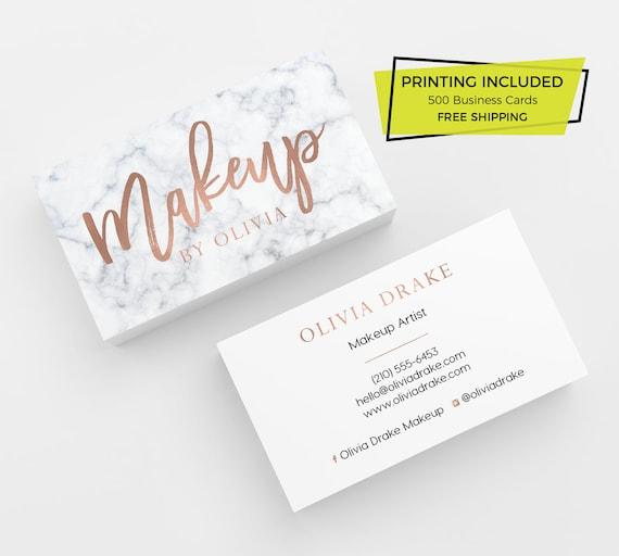 Marmor Rose Gold Make Up Visitenkarten 500 Visitenkarten Gedruckt Visitenkarte Vorlage Personalisierte Calling Card Make Up Schönheit Künstler Mua