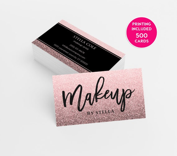 Pink glitter beauty business card 500 printed business cards etsy image 0 colourmoves