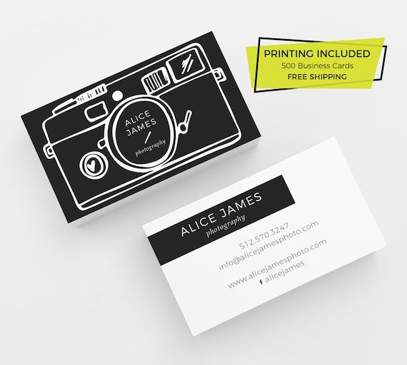 Fotografie Kamera Visitenkarte 500 Gedruckten Visitenkarten Kundenspezifische Visitenkarte Fotografen Fotografie Marketing Brandstempel Schwarz Modern