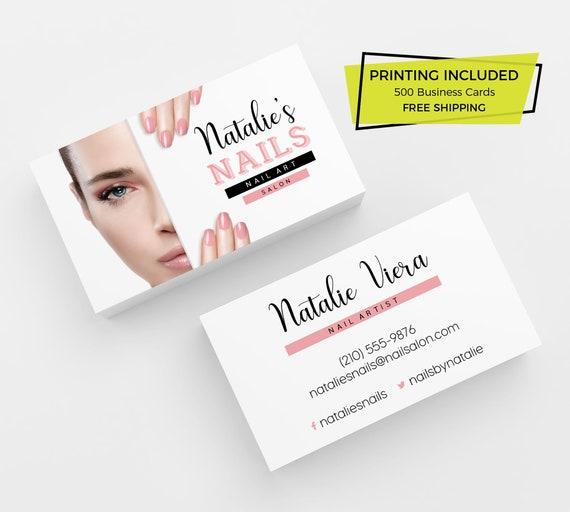 Nagel Salon Visitenkarte 500 Gedruckte Visitenkarten Personalisierte Calling Card Vorlage Benutzerdefinierte Nägel Schönheit Kunst Branding Logo Haar