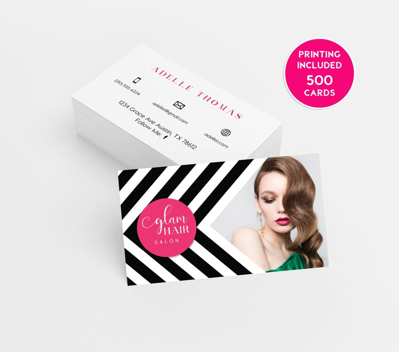 Hair Salon Business Card Design 500 Business Cards Printed Etsy