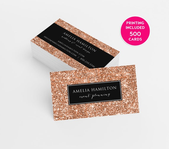 Rose Gold Glitter Business Cards Design 500 Printed Business Etsy