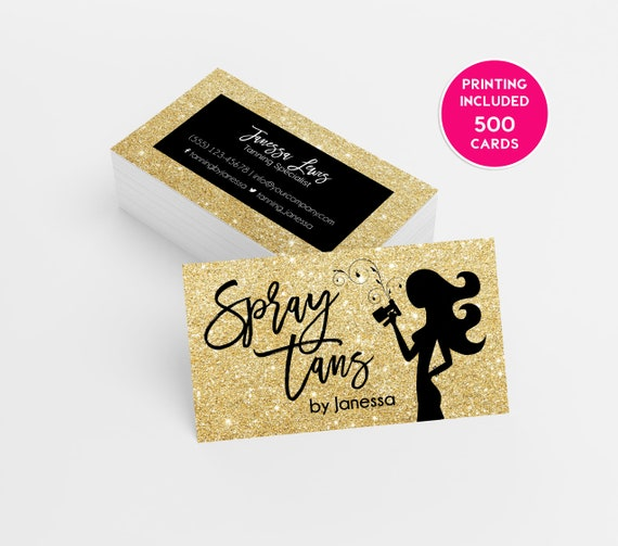Gold glitter spray tanning business card design 500 printed etsy image 0 colourmoves
