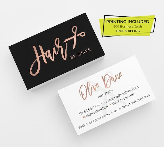 Rose Gold Haar Stylist Visitenkarte 500 Gedruckte Visitenkarten Benutzerdefinierte Karte Vorlage Mit Druck Haarsalon Schönheit Business Schwarz