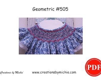 Geometric Smocking Design - #505 - Smocking Pattern Instant Download Printable