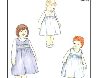 Creations by Michie' #136 - Sundress with Smocked inset or plain yoke - Sizes: 2 – 6 - Sewing Pattern Instant Download Printable