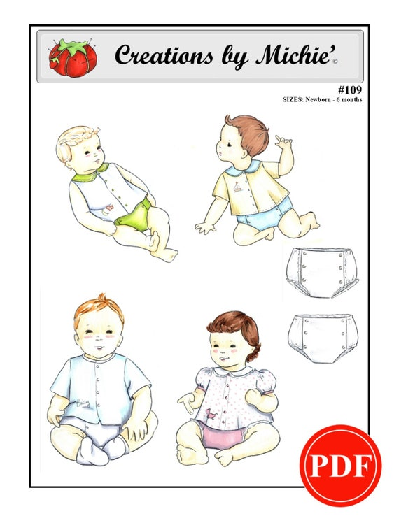 Creations By Michie 109 Infant Shirt And Diaper Cover Sizes Newborn 6 Months Sewing Pattern Instant Download Printable
