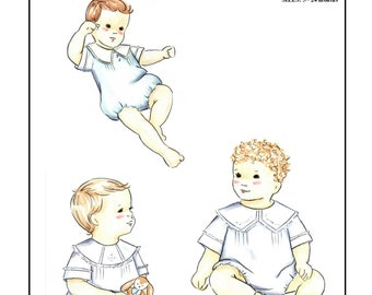 Creations by Michie' #111 - Boys Heirloom Bubble - Sizes: 3 – 24 months - Sewing Pattern Instant Download Printable