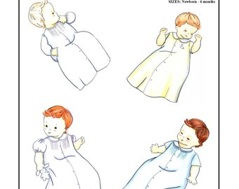 Creations by Michie' #128 - Baby Daygown - Sizes:  Newborn – 6 months - Sewing Pattern Instant Download Printable