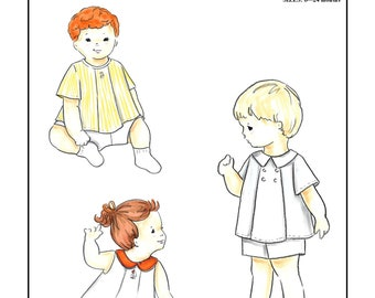 Creations by Michie' #110 - Diaper Shirt and Shorts - Sizes: 6 – 24 mos. - Sewing Pattern Instant Download Printable